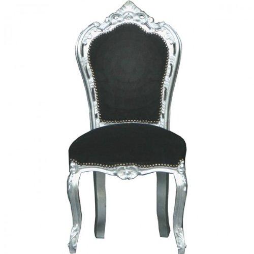 Casa Padrino Barock Esszimmer Stuhl Schwarz Möbel Silber Möbel