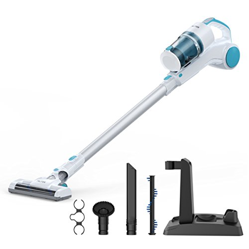 MLITER Vacuum Cleaner 2 in 1 Cordless Stick and Handheld Vacuum 22.2V Lithium-ion Rechargeable Battery, With HEPA Filtration, Crevice Tool & Brush Accessories White/Blue