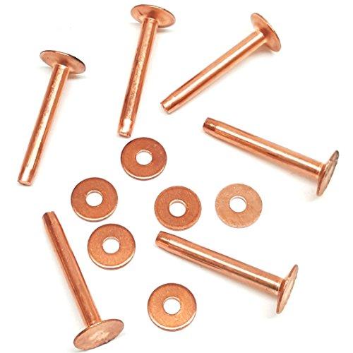 6 Pack #9 Solid Copper Rivets With Burrs-Stirrup Rivets-Blevins Buckle Rivets-Saddle Repair Rivet (1