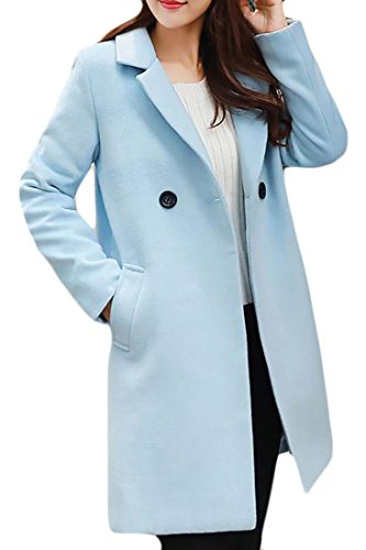 - Macondoo Women's Slim Winter Overcoat Double-Breasted Outwear Pea Coat Light Blue L