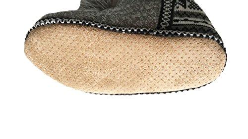 COIN Hausschuh Damen Strickoptik Hüttenschuhe Stiefel mit Quaste und rutschfester Sohle Warm Böhmisches motiv Design 36-41, Schwarz/Grau/Beige Schwarz