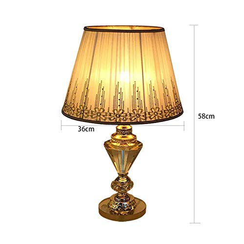 (ChuanHan Ceiling Fan Light Chandelier Lightings Table Lamp Crystal Embroidery E27 Holder Desk Bedroom Bedside Glass Base Double Fold Cloth Cover Home Decoration Table)