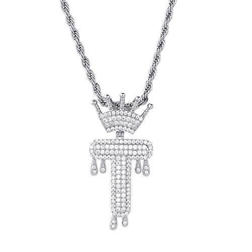 HECHUANG Micropave Simulated Diamond Iced Out Crowned Initial Dripping Letters Pendant with Rope Chain (Silver T, 24) (Best Simulated Diamond Jewelry)