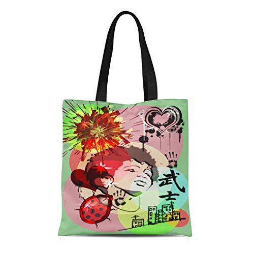 Ablitt Tote Bag Shoulder Bags Canvas Green Street Streem Glam Vintage Grocery bag Women's Handle Shoulder Tote Shopper Handbag