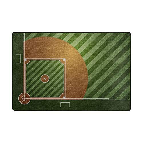 ALAZA 4'x6' Area Rugs Baseball Field Lightweight Non-Slip Rugs for Living Room Kids Room Bedroom Floor - Field Rug Baseball