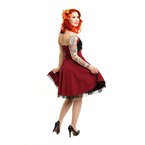 Rockabella pour femme sans manches dos nu-marina robe rockabilly mini robe noir/rouge rayé)