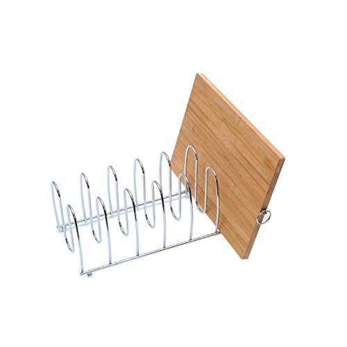 "Cutting Board Holder Rack Pot Lid Organizer For Kitchen Cabinet Countertop Large 6 Block Chrome Steel 13.2""L x 5.5""H x 5.5""W"