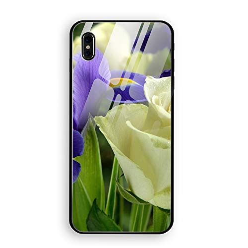 iPhone X Case,Earth Flowers White Rose Iris Purple Hard Ultra Thin Slim Case Anti-Scratch with [Tempered Mirror + Glossy Coating] Full Protective Compatible for iPhone X
