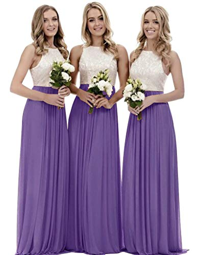 Women's A Line Chiffon Floor Length Bridesmaid Dress Lace Wedding Formal Gown Tahiti Size 2