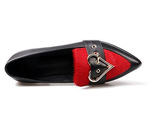 Negen Zeven Leren Dames Puntige Neus Lage Hak Tweekleurige Handgemaakte Flats Schoenen Nieuw Rood