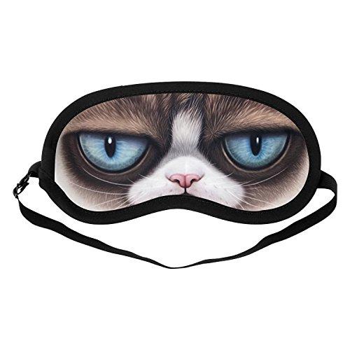 Sangkoo Fashion Cat Eyes Sleep Mask, Cotton Material Soft Eye Mask Adjustable Head Strap for Men/Women/Kids