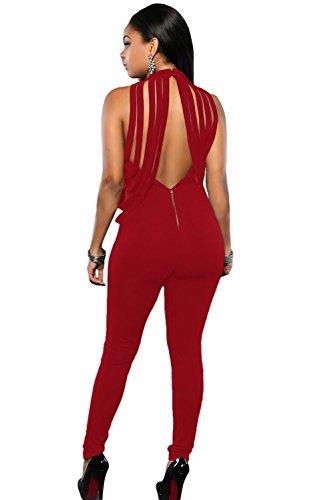 Damen Rusty Rot Drapiert offener Rücken Jumpsuit Catsuit Clubwear Kleidung Größe S UK 8