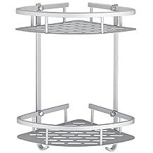 Shower Shelf, Bathroom Shower Corner Basket 2-Tier with 2 Towel Hooks, Aluminum Alloy Shelves for Shampoo