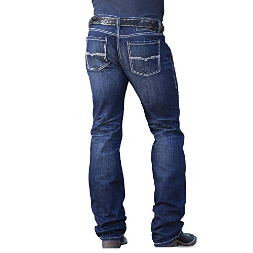 Straight Rock - Rock & Roll Cowboy Men's and Pistol Dark Wash Jeans Straight Leg Indigo 34W x 30L