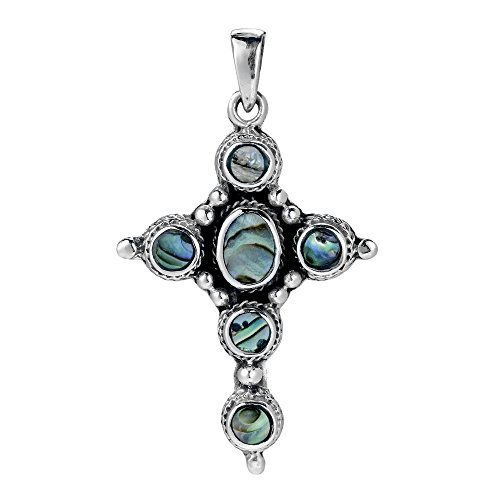 AeraVida Intricate Inlay Circle of Faith Cross Abalone Shell .925 Sterling Silver Pendant