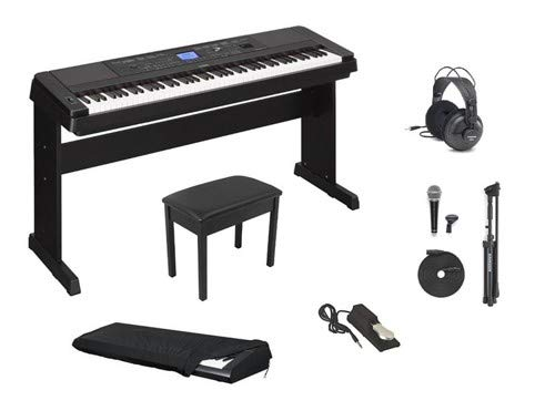 Yamaha DGX660 Deluxe Piano Package with Headphones, Bench, Keyboard Cover, Sustain Pedal, and Microphone Value Pack
