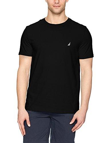 Nautica Men's Short Sleeve Solid Crew Neck T-Shirt, True Black, - Mens T-shirts Fashion