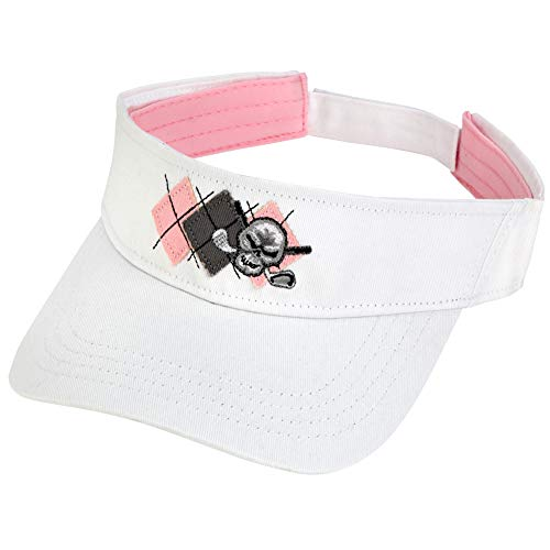 TattooGolf Argyle Golf Visor w/Skull Design (Pink/White)