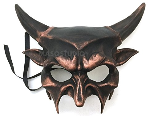 MasqStudio Steampunk Copper Horned Devil Mask Animal Masquerade Halloween Cosplay Haunted House Party mask Art Wall Deco