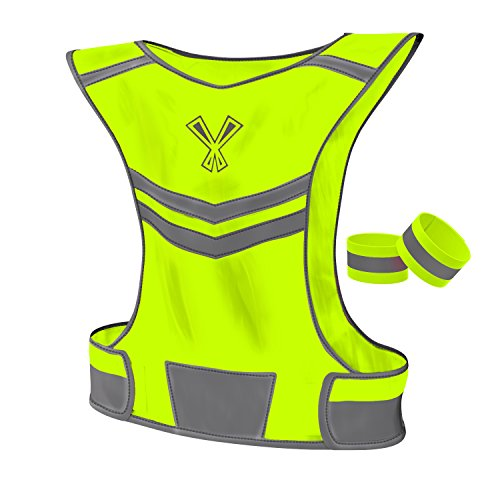247 Viz Reflective Vest with 2 Visibility Safety Bands, Medium - Neon (High Performance Mens Raincoat)