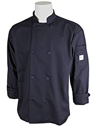 Mercer Culinary M60010NBL Millennia Unisex Cook Jacket with Traditional Buttons, Large, Navy Blue