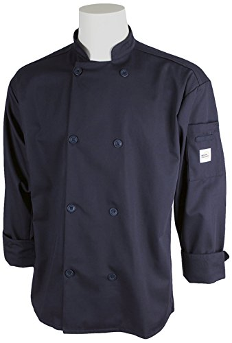 Mercer Culinary M60010NBM Millennia Men's Cook Jacket with Traditional Buttons, Medium, Navy Blue