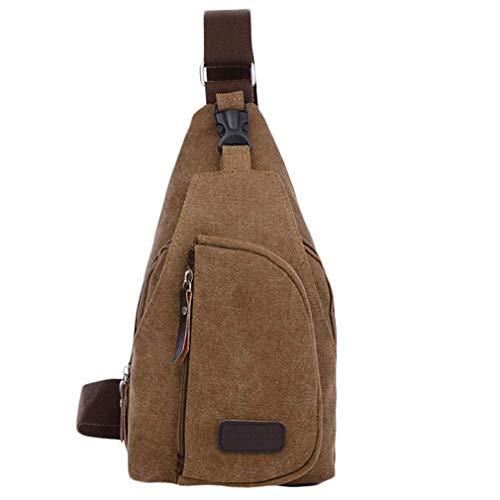 Women MEN Casual Canvas Unbalance Shoulder Bag Casual Functional Men Chest Pack Sling Bag Men 5 Colors Brown (Tamrac Brown Strap)