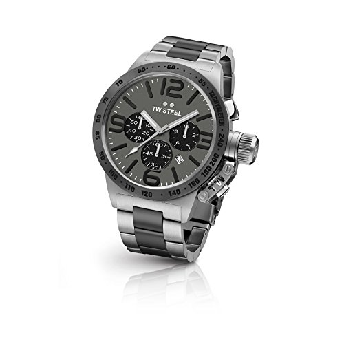 TW-Steel-CB203-Mens-Chronograph-Stainless-Canteen-Two-Tone-Bracelet-Band-Grey-Dial-Watch