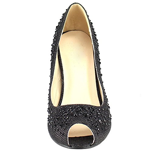 Mujeres Stiletto Clasic Wedding Vestido Nupcial Pump Heal Pearls Glitter Sandal Zapatos Negro