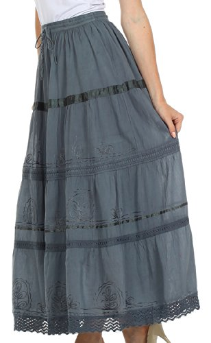 AA554 - Solid Embroidered Gypsy / Bohemian Full / Maxi / Long Cotton Skirt - Gray/One Size Photo #2