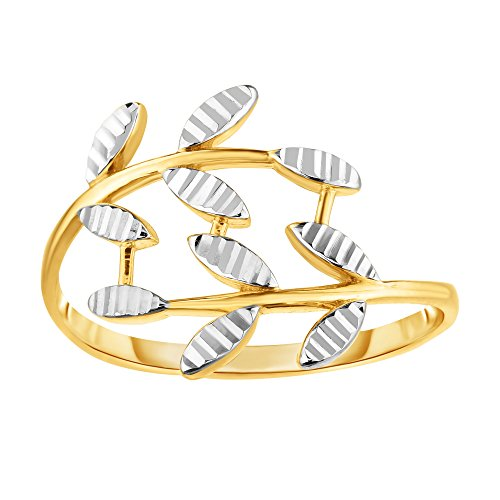 (14K Two Tone Gold Diamond Cut Olive Leaf Branch Design Ring, Size 7)