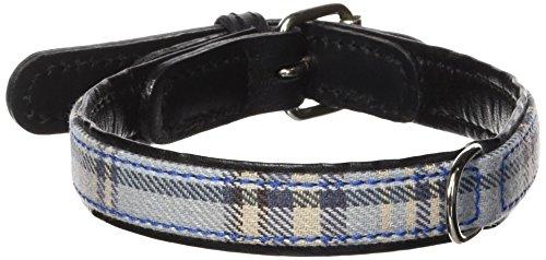 Petego La Cinopelca Cheri' Italian Leather Collar in Blue and Tartan Fabric, Small, 15 Inches