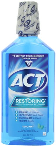 ACT Restoring Mouthwash, Cool Splash Mint, 33.8 Ounce