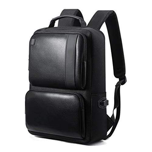 MEI Business Briefcase Men's Business Backpack 15 Inch Laptop Bag, College Shoulder Bag Waterproof Synthetic Leather Anti-Theft Multi-Pocket Rucksack (Color : Black, Size : - Compartment Exclusive Multi Expandable Briefcase