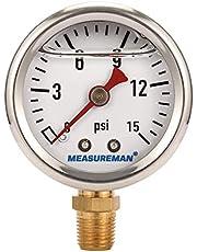 "Measureman 1-1/2"" Dial Size, Glycerin Filled Fuel Pressure Gauge, 304 Stainless Steel case, 0-15Psi, -3-2-3%, 1/8""NPT Lower Mount"