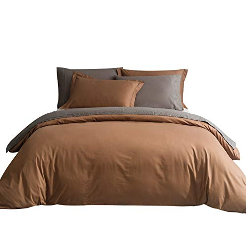 SUSYBAO 3 Pieces Duvet Cover Set 100% Natural Cotton King Size 1 Duvet Cover 2 Pillow Shams Chocolate Brown Luxury Quality Ultra Soft Breathable Durable Fade Resistant Solid Bedding with Zipper Ties