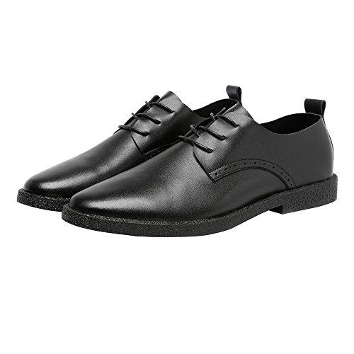Richelieus Chaussures Chaussures Matte Véritable Mocassins Hommes En Cuir Pour Noir En Respirant Cuir Bout Pointu Lacer PqEArgP