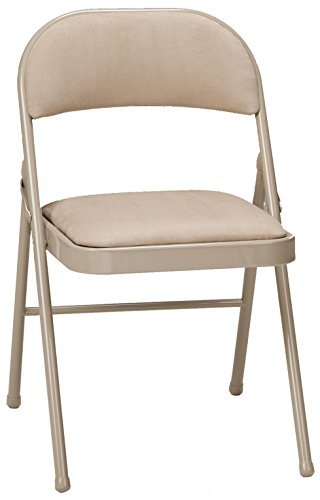 MECO 4-Pack Deluxe Fabric Padded Folding Chair, Buff Frame and Sand Fabric Seat and ()