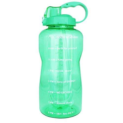 (BuildLife Motivational Gallon Water Bottle 128OZ with Unique Timeline/Measurements/Goal Marked Times for Measuring Your Daily Water Intake, Large BPA Free Non-Toxic Water Jug (128OZ,128OZ-Agate Green))