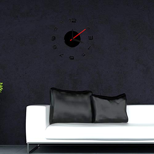 OTTATAT Wall Stickers for Bathrooms 2019,Digital DIY Self Adhesive Interior Wall Creative Decoration Clock Black Easy to Peel Wedding Sleeping Gift for Lover Free Deliver