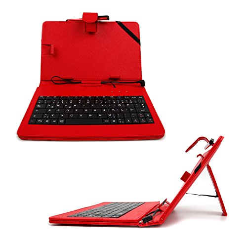 """DURAGADGET Red Faux Leather 7"""" Case With Micro USB German QWERTZ Layout Keyboard For NEW Huawei MediaPad X2 Tablet - Plus BONUS Stylus Pen"""