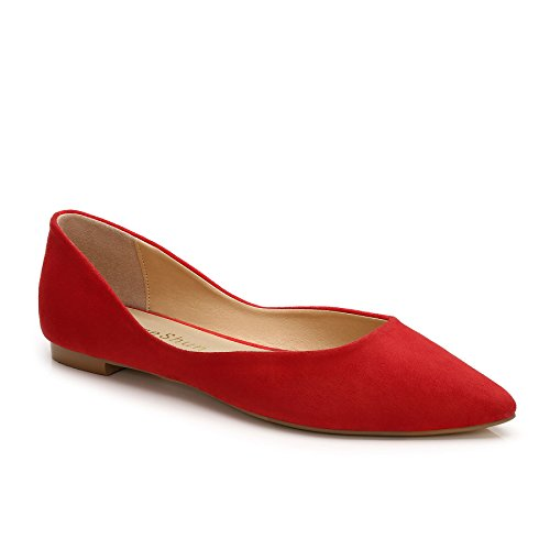 - ComeShun Womens Sexy Pointed Closed Toe Comfortable Red Comfort Suede Pumps Size 9