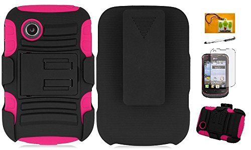 LG Aspire LN280 / 306G / LG 305C, LF 4 in 1 Bundle - Hybrid Armor Stand Case with Holster and Locking Belt Clip, Stylus Pen, Screen Protector & Wiper for (Tracfone StraightTalk Net10) LG 306G / LG 305C (Holster Pink)