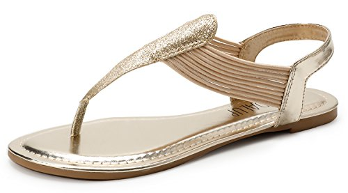 SANDALUP Sparkling Elastic Strappy Thong Ankle Strap Sandals for Women Light Gold 09