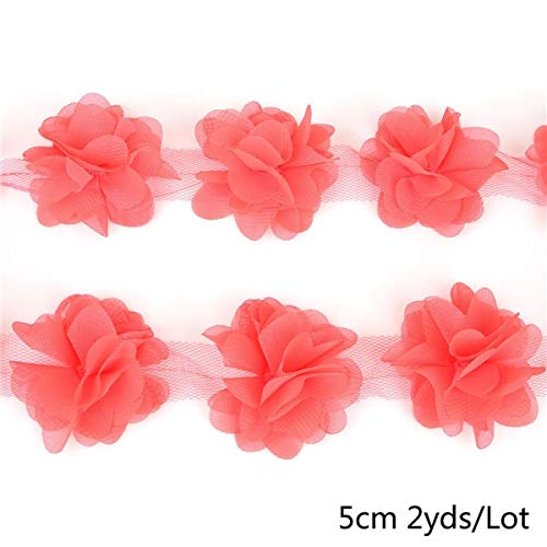 (Lace Crafts - New Arrival 1 Yards (13 Flowers) DIY Bridal Bouquets Shoes Corsage Wedding Lace Ribbon 3D Chiffon Flowers Lace Lace Fabric - (Color: Coral Red))
