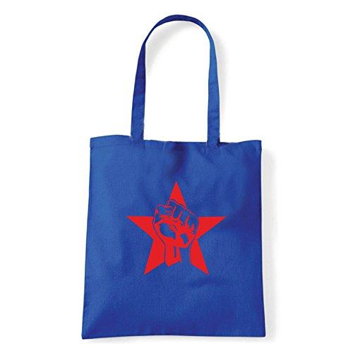 Art T-shirt pugno-rosso-bag - Bolso al hombro de Algodón para mujer Turquesa