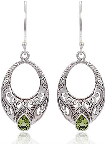 925 Sterling Silver Spiritual Bali Filigree Design w/ Bright Green Peridot Dangle Earrings