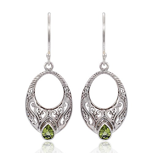 925 Sterling Silver Spiritual Bali Filigree Design w Bright Green Peridot Dangle Earrings