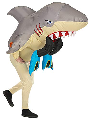Seasonblow Inflatable Shark Attack Eat Human Costume Adult Fancy Halloween Party Birthday Cosplay Fancy Dress up Suit -