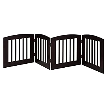 BarkWood Pets Freestanding Pet Gate with Four 24 W x 24 H Folding Wood Panels, Cappuccino